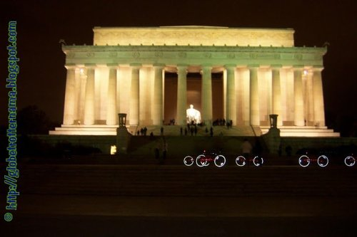 Lincoln Memorial under lights